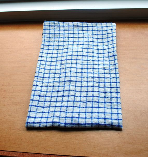 Linen Dish Towel Blue Gingham Linen Kitchen Towel Guest Towel