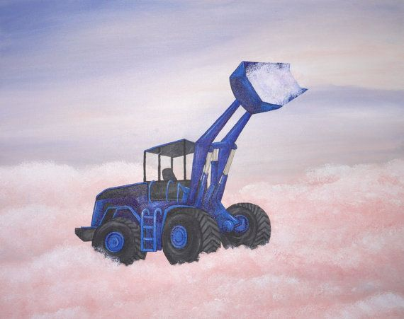 I like this for a boys bedroom. maybe some girls too? The clouds have a magical quality which helps you to believe something as heavy as a digger could be up in the sky