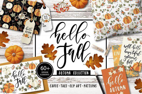 Autumn & Fall Clip art, quotes by lokko studio on @creativemarket