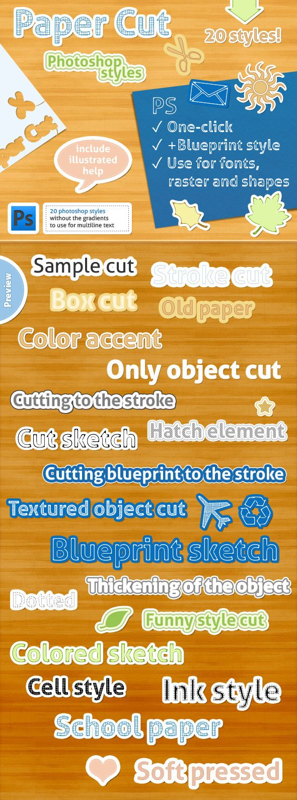 18 best photoshop actions brushes etc images on pinterest 20 photoshop styles paper cut malvernweather Image collections