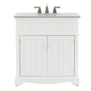 Home Decorators Collection, Fremont 32 in. Vanity in White with Granite Vanity Top in Grey, 2943800410 at The Home Depot - Mobile