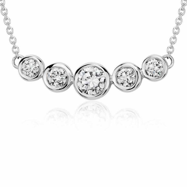 Bezel Bar Diamond Necklace in 9K White Gold (0.45ct tw) | The Diamond Channel, Johannesburg