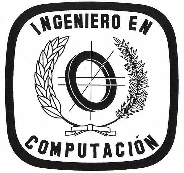 Emblema de la profesión informática al que se le ha removido la corona española (Puede usarse en licenciaturas y en ingenierías).