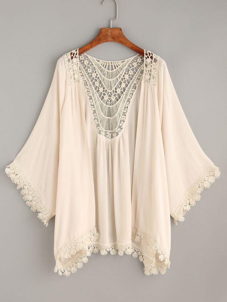 Shop Crochet Apricot Tassel Trimmed Kimono online. SheIn offers Crochet Apricot Tassel Trimmed Kimono & more to fit your fashionable needs.