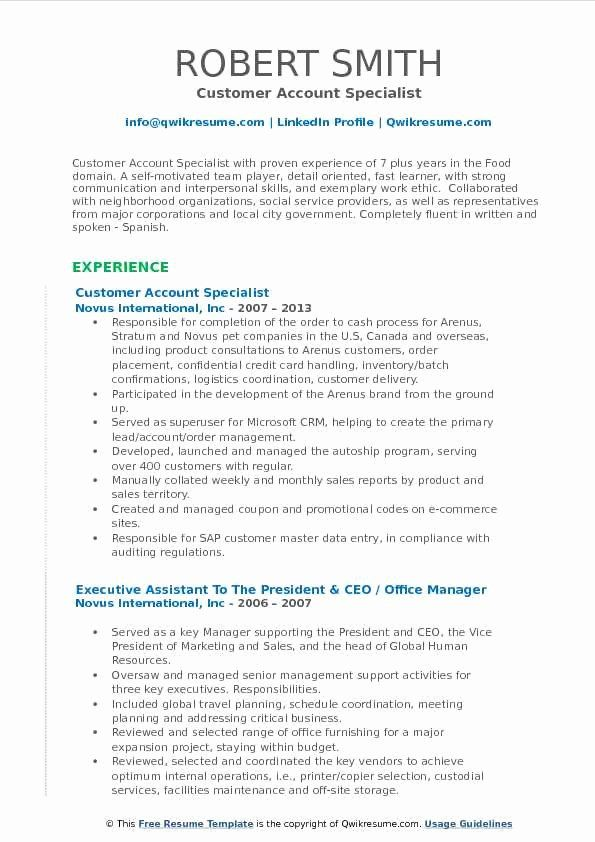 Customer Support Specialist Resume Lovely Customer Account Specialist Resume Samples