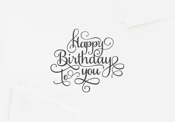 Letterpress Typography Birthday Card  Package of 6 by typoboutique