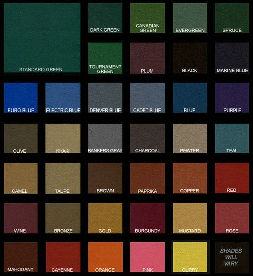 Pool Table Felt Dark Colors