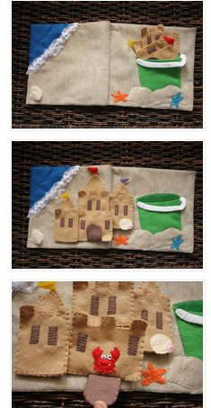 Pg. 6-7: Sand Castle. I was thinking with snaps but then they can't change the shapes they build? Could the bucket be a zippered pouch to hopefully not lose pieces?