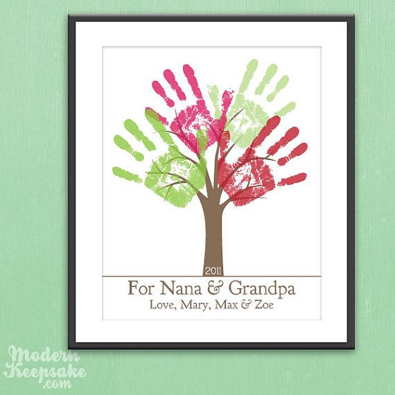 Grandparents Holiday Gift - DIY Personalized Childs Handprint Tree - Printable pdf Kids Craft Project via Etsy
