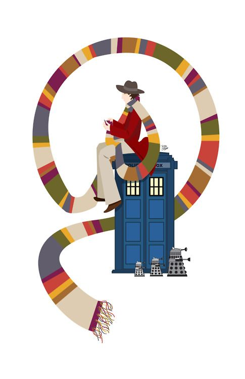 """""""What if the Fourth Doctor had knit his famous scarf?"""" - (the artist) """"What a cute little Dalek family trundling past him!"""" -  (me)"""
