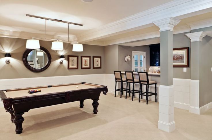 Basement With Pool Table And Wall Sconces : Tips For Painting Basement Walls