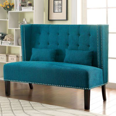 Furniture of America Arvada Wingback Loveseat Chair Teal - IDF-BN6226TL