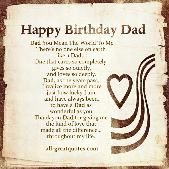 Happy Birthday to a very special person - my dad - hope you have a wonderful day. Love you