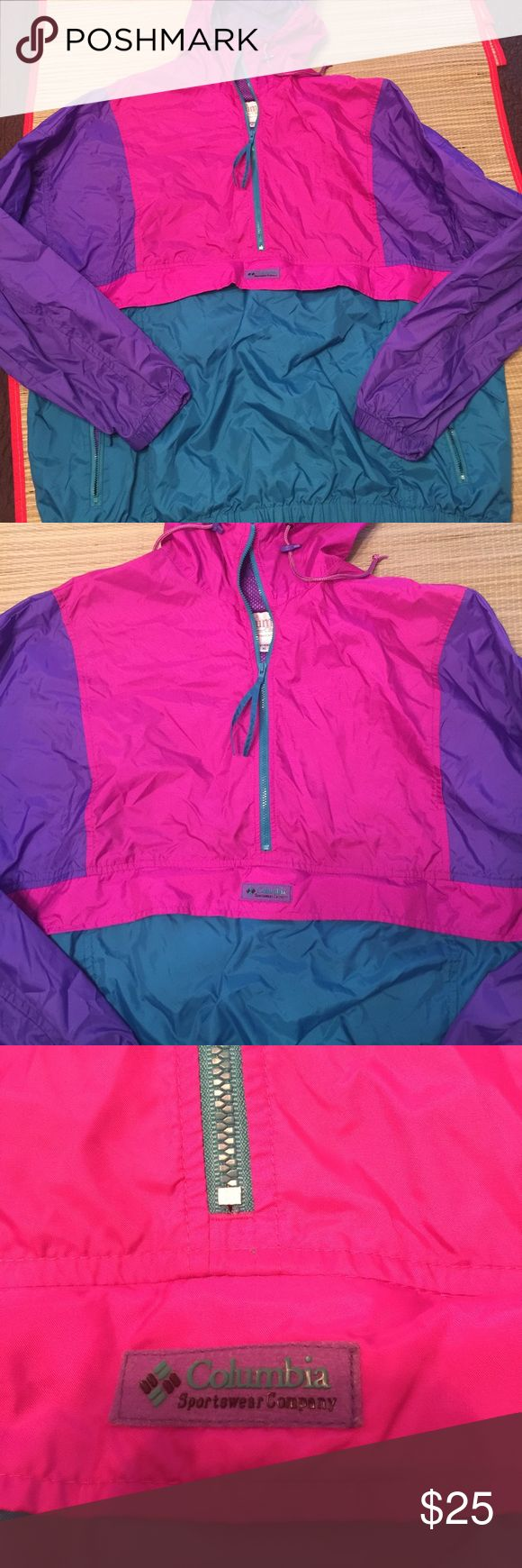 90s Columbia windbreaker rain coat color block XL Vintage 90s colorblock windbreaker anorak jacket. Excellent condition NO signs of wear. Price firm 💕 tag size is XL (I am assuming a women's size given the colors). Front pockets and zippers all in excellent condition. Rare color vintage jacket perfect for fall 2017 💕price firm ships next day 💕 tags: vintage Nike retro hoodie Champion sweatshirt polo Ralph Lauren Columbia Jackets & Coats Jean Jackets