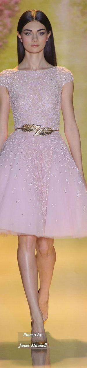 Zuhair Murad Haute Couture Collection Spring Summer 2014 Paris, pretty pink cap sleeve homecoming dress, luxury short graduation dress