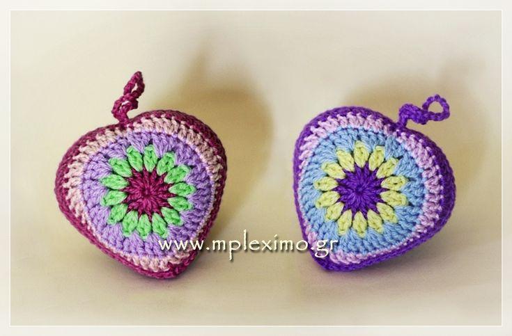 crochet stuffed hearts