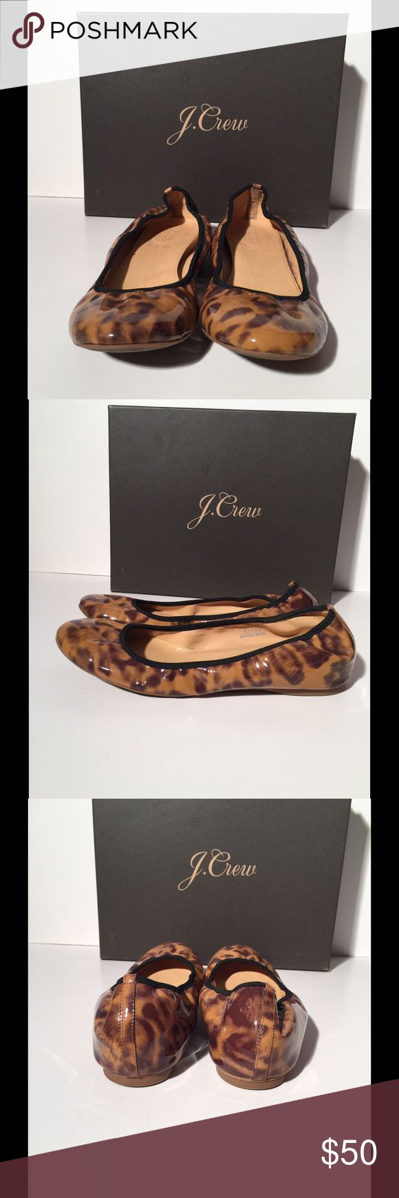 ❤JCrew Patent Animal Print Ballet Flat❤ Great little ballet flat for causal days and running errands. Very comfortable. Gently used. No visible signs of wear. J. Crew Shoes Flats & Loafers