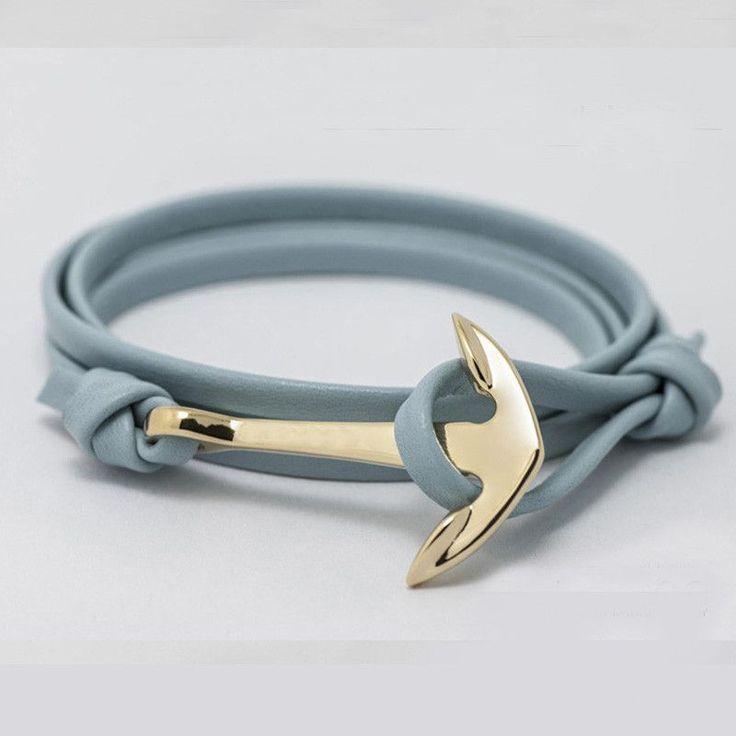 Fashion Jewelry Multilayer Gold Alloy Anchor Bracelet Men Leather Bracelet for Women&Men friendship bracelets