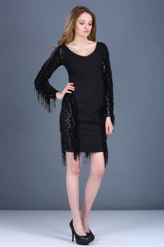 V Yaka Fermuar Detay Püsküllü Siyah Elbise