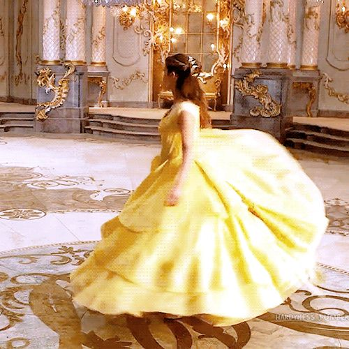 Emma Watson spinning in her Belle's dress. gif Pinned by @lilyriverside