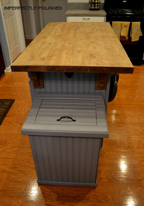 Trash can cover DIY. Need this to match our kitchen island.