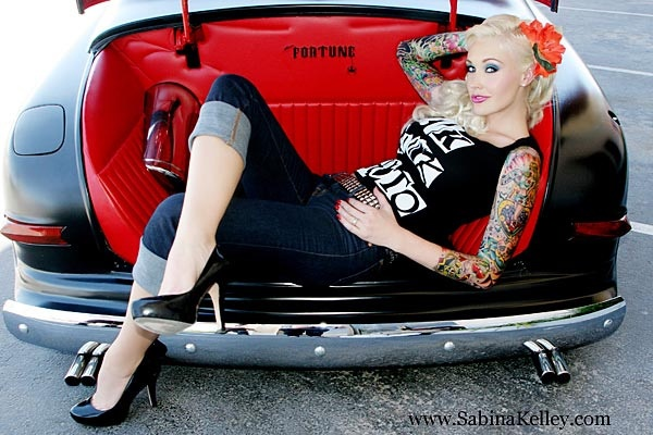 great pose idea for pinup shoot w/ dad's car