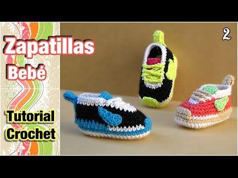 getlinkyoutube.com-Cómo tejer Zapatillas, patucos, escarpines para bebé a crochet (2 de 2)