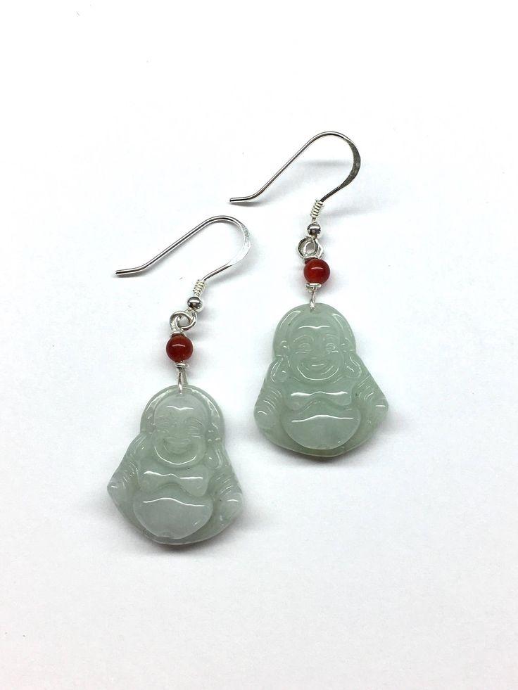 Jade Earrings, Jade Buddha Earrings, Jade Smiling Buddha Earrings, Carved Pale Green Jade Laughing Buddha 925 Sterling Silver Earrings by RitaCollection on Etsy