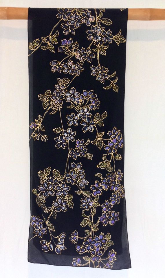 Silk Scarf Handpainted Gift for her Black Floral Scarf