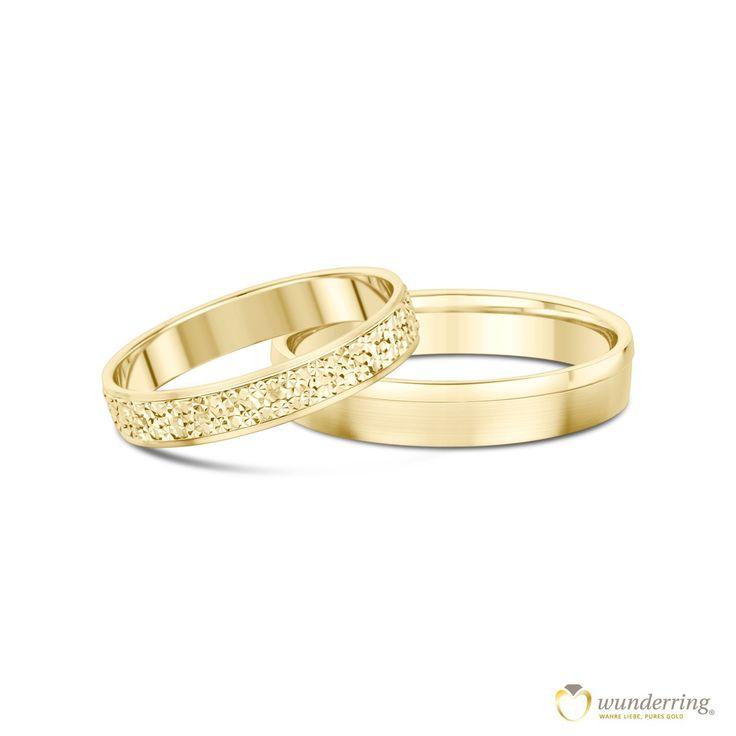 Eheringe Munia in 750er / 18 K Gold Gelbgold. Der Damenring glitzert im Diamanté-Effekt. Jetzt als Musterrring testen! #Trauringe #Hochzeit