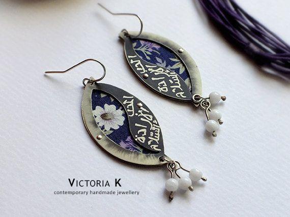 Ethnic earrings, boho hippie style, mix media art, floral pattern earrings, Contemporary jewelry