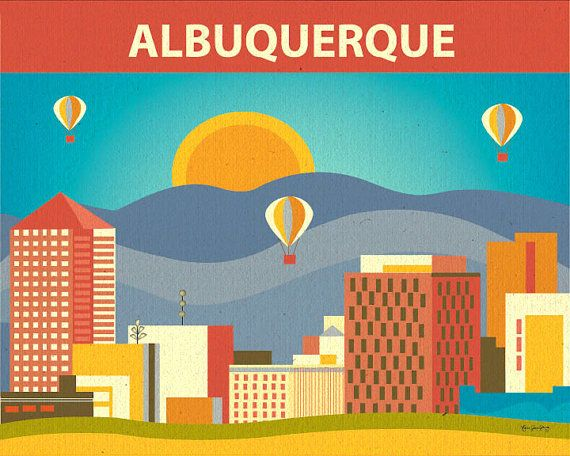Albuquerque, New Mexico Skyline Art Poster Print for Home, Office, and Nursery - syle  E8-O-ALB