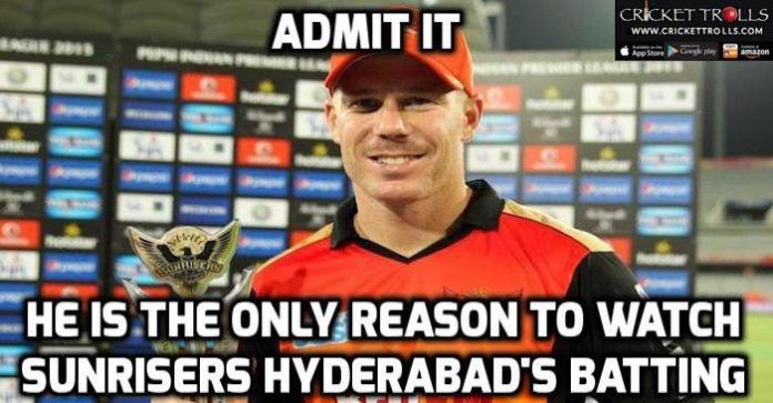 #VivoIPL #IPL2016 #SRHvsMI #DavidWarner   One Man Army for SunRisers Hyderabad : David Warner​  http://www.crickettrolls.com/2016/04/19/one-man-army-david-warner-sunrisers-hyderabad/