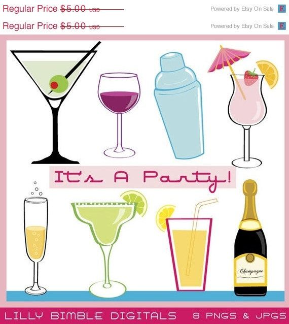 50% off Party Drink Cocktails clipart for new year, parties, champagne bottle, margarita, wine, Instant Download