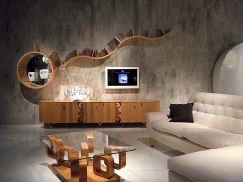 .Living Rooms, Living Room Arrangements, Wood Furniture, Living Room Design, Livingroom, Interiors Design, Wall Shelves, Modern Living Room, Living Room Furniture