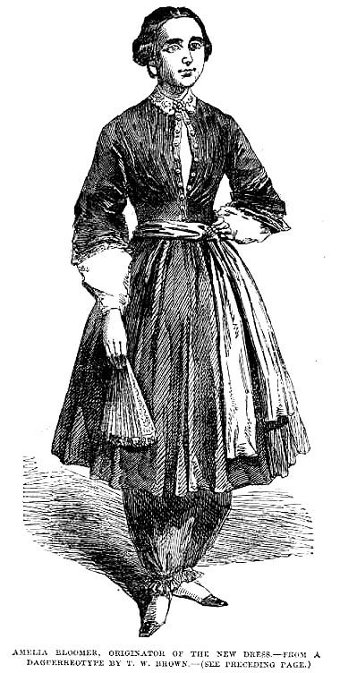 These are bloomers.  Worn by Amelia Bloomer herself, an early advocate of women's dress reform in the 50s.  Ankle-length, made of substantial material like wool or silk, not cotton, and worn under a shorter dress.  If you mentioned in the mid- 19th century that you were wearing bloomers, this is what people would picture, and many people thought this costume was scandalous.  If you are wearing a white cotton, calf-length garment under your full-length dress you are wearing DRAWERS.