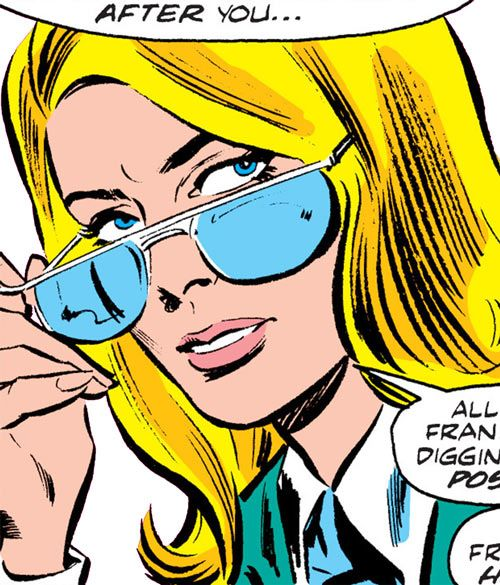 Carol Danvers during the 1970s, looking over her glasses. From http://www.writeups.org/ms-marvel-comics-carol-danvers-3/