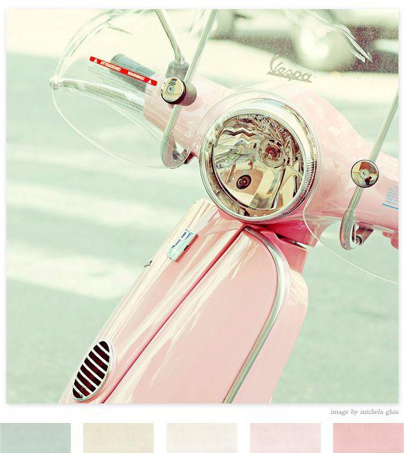vespa pretty: Vespas Scooters, Colors Combos, Pastel Pink, Colors Palettes, Colors Schemes, Baby Girls, Colour Palettes, Girls Rooms, Pink Wasps