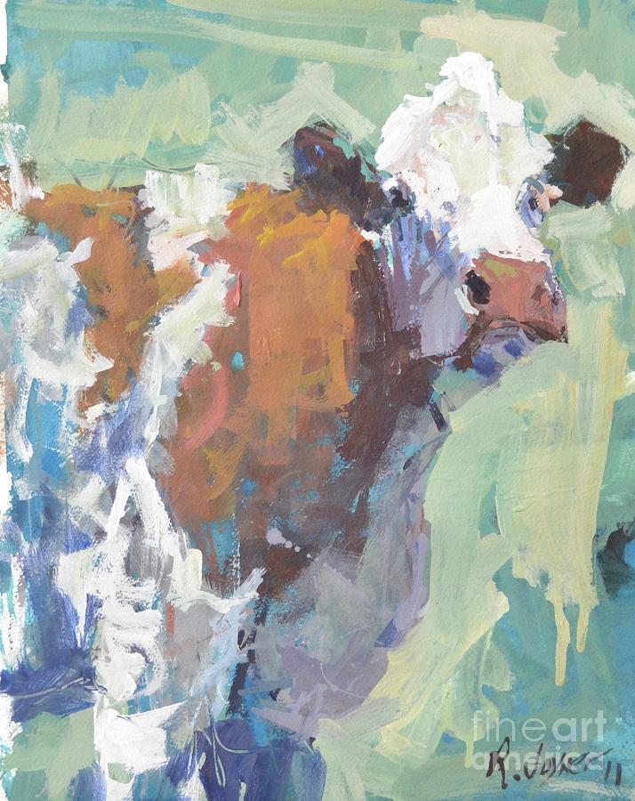 Original contemporary cow painting Painting  - Original contemporary cow painting Fine Art Print