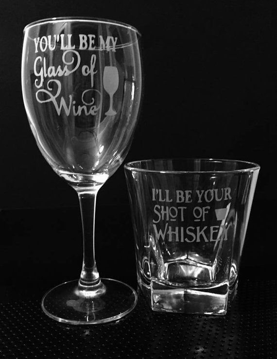 Wine and whiskey etched glass set for couples or the bride and groom. White wine glass is 10.25 ounces. Whiskey glass is a standard size rocks glass. A keepsake your friends and family will forever cherish.  *All of my glassware can be personalized for an addition $2.00. If you wish to personalize your glass, please go to my listings and order Personalize it for each glass. At checkout let me know the names/dates you would like on each glass.  *I do not use chemicals to etch, I use a…