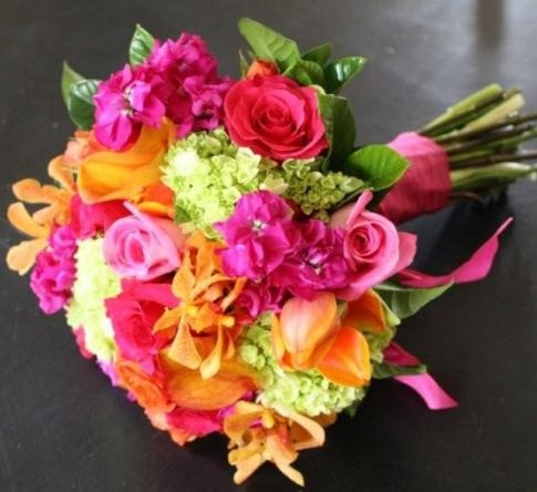 Beautiful colourful wedding flowers, I have to have these...