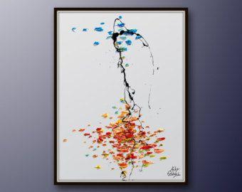 """Astratta pittura 40"""" toni cielo & terra olio su tela, originale e fatto a mano, freddo e caldo, Home Decor, di Koby Feldmos"""