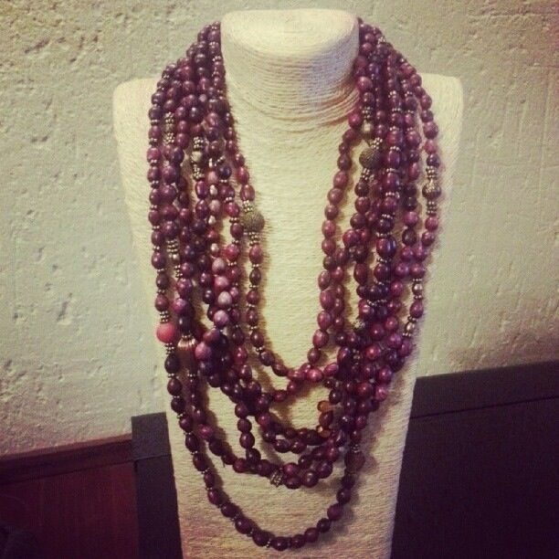 Purple Zulu pearls with gold and copper metals