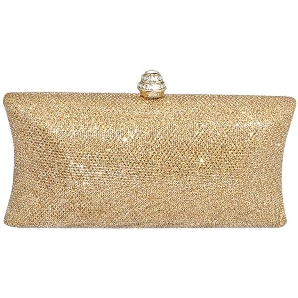 Glitter Mesh Hard Box Evening Wedding Clutch Purse With Rhinestone... ($25) ❤ liked on Polyvore featuring bags, handbags, clutches, mesh handbag, evening handbags, holiday purse, rhinestone clutches and mesh purse