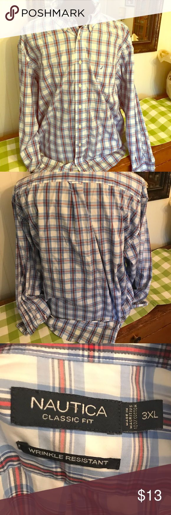 Nautica LS Button Up Dress Shirt Men 3XL big tall Shirt is in excellent pre owned, gently used condition! Long sleeve button up and wrinkle resistant!   From a smoke & pet free home!  I have lots of Big & Tall clothes listed so please check out my closet! Nautica Shirts Dress Shirts
