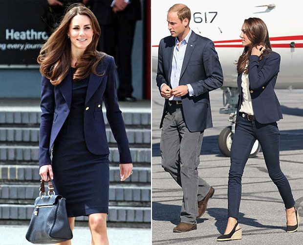 Smythe Blazer:   The Duchess of Cambridge took this versatile navy blazer and gave it the professional lady treatment, wearing it over a shift dress back in June 2011 to kick off her 9-day Canadian tour.