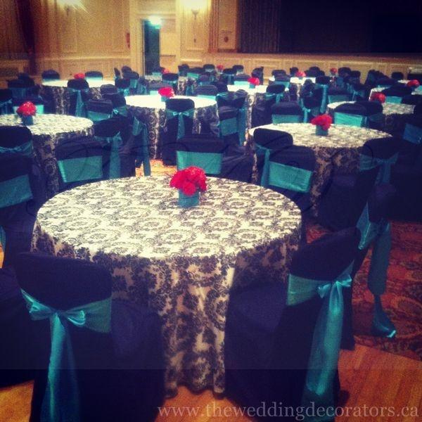 black white damask print black turquoise red wedding event decor