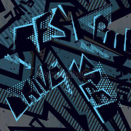 Downloaden - Abstracte naadloze patroon met letter. Grunge stedelijke zwarte en blauwe achtergrond met woorden Drive, snelheid, Best. Spray verf, stippen en vormelementen — Stockillustratie #134951862