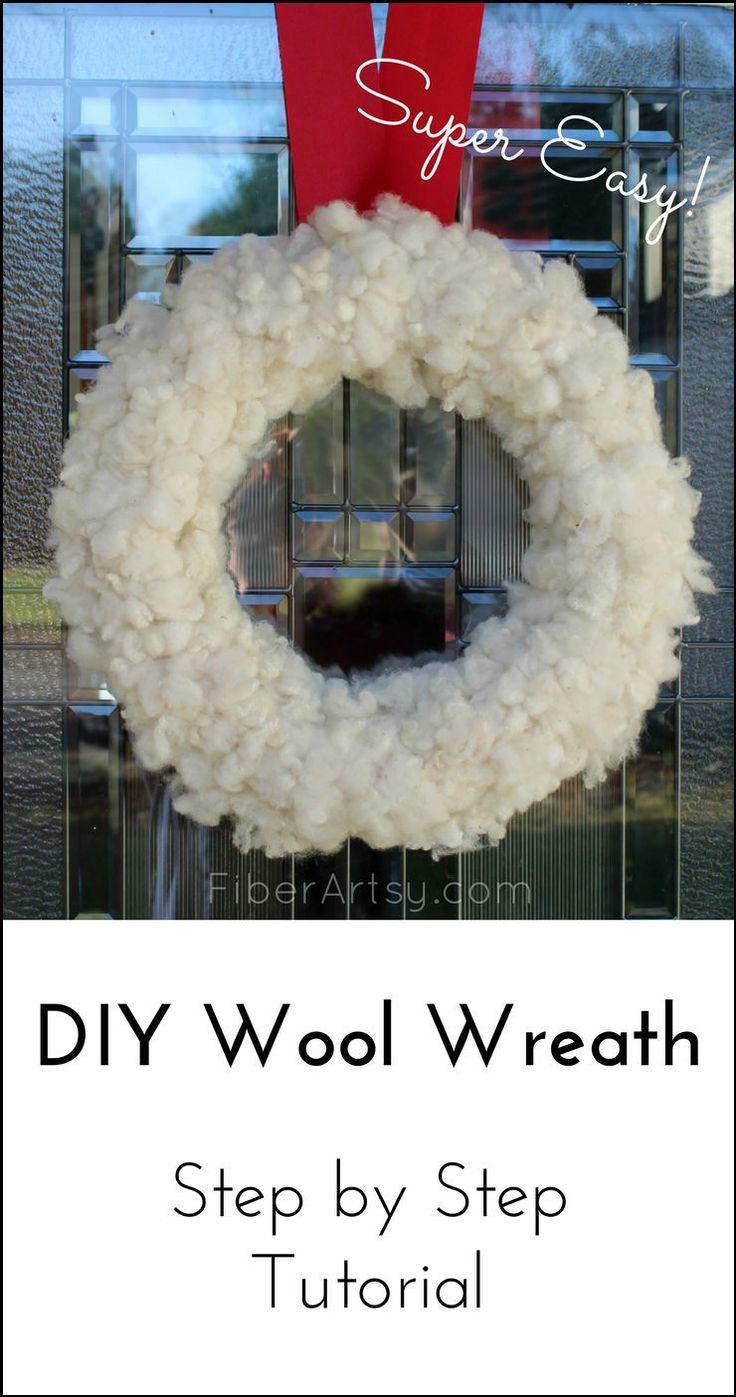 DIY Wool Wreath, Learn how to make a beautiful Christmas door wreath using soft wool. Super easy holiday craft project. A FiberArtsy.com tutorial