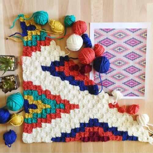 C2C Crochet Southwestern Throw Blanket - Tutorial